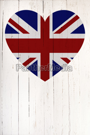 british flag in heart shape on
