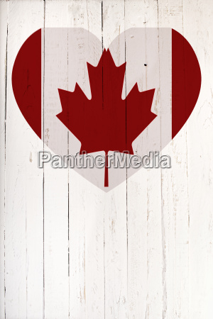 canadian flag in heart shape on