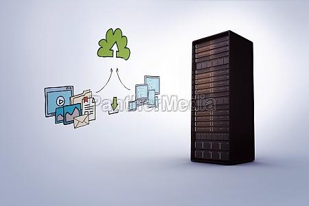 zusammengesetztes, bild, des, cloud, computing, doodles - 15336599