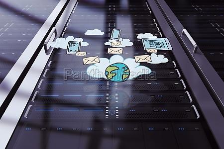 zusammengesetztes, bild, des, cloud, computing, doodles - 15336657