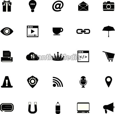 internet website icons on white background