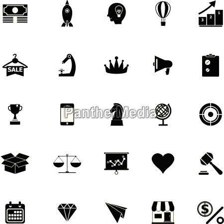 marketing strategy icons on white background