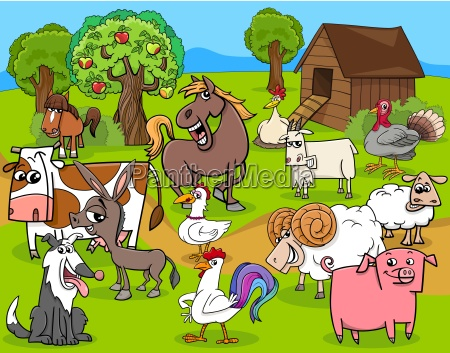 farm animals group cartoon