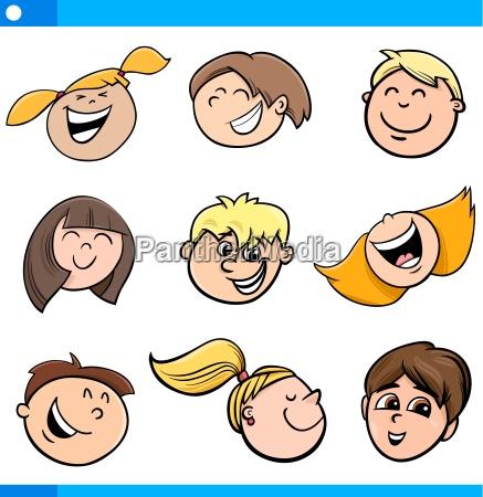 cartoon kids characters set