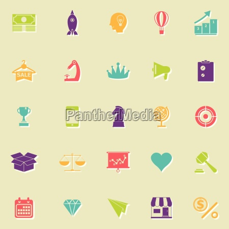 marketingstrategie flache ikonen mit schatten