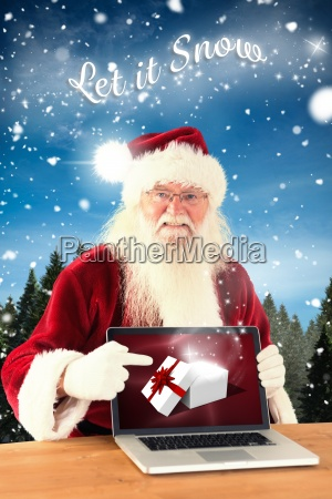 composite image of happy santa showing