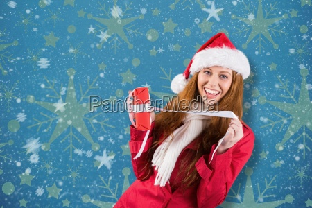 composite image of festive redhead opening