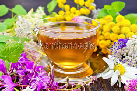 tea from flowers in glass cup