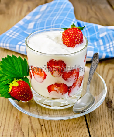 yogurt thick with strawberries on a