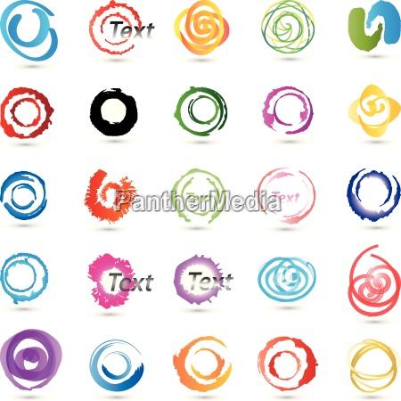 kreise spiralen sammlung farbig
