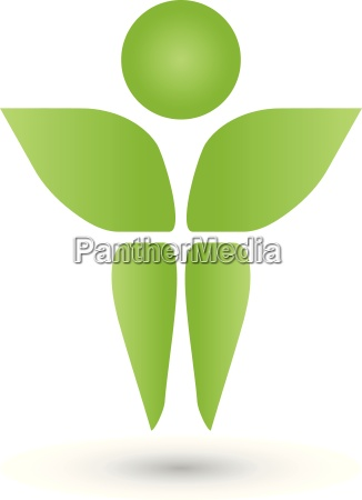 leaves person man logo