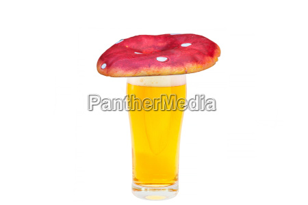 fun beer glass with fly agaric