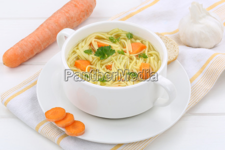 noodle soup with baguette broth in