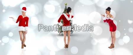 composite image of different festive brunettes