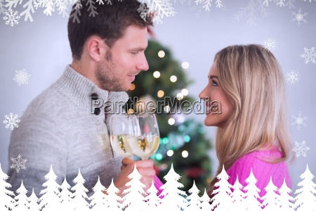 composite image of happy couple enjoying