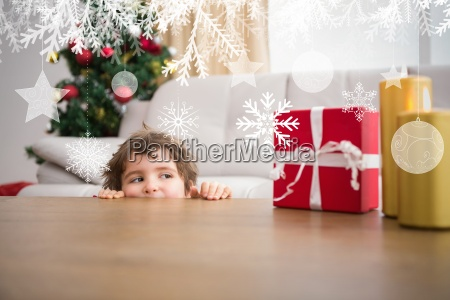 composite image of festive little boy