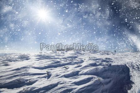 mountain landscape glowing by sunlight