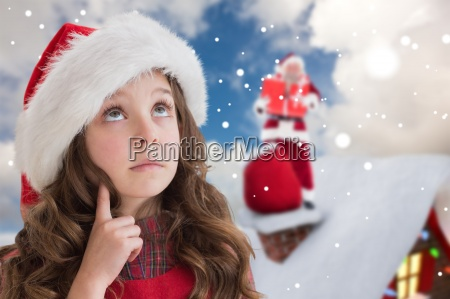 composite image of cute girl in