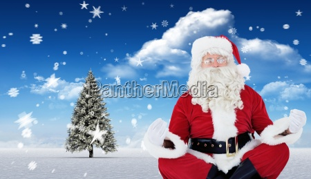 composite image of santa claus sitting