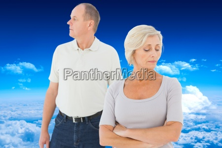 composite image of older couple having