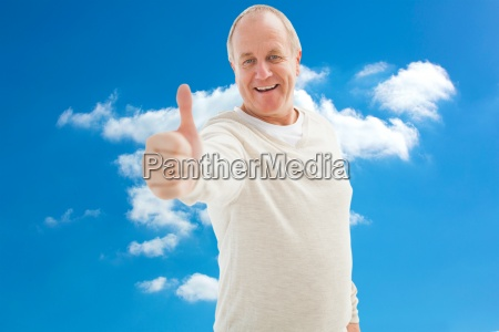 composite image of happy mature man