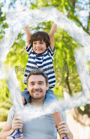 composite image of father carrying a