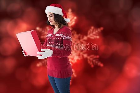 composite image of festive brunette in