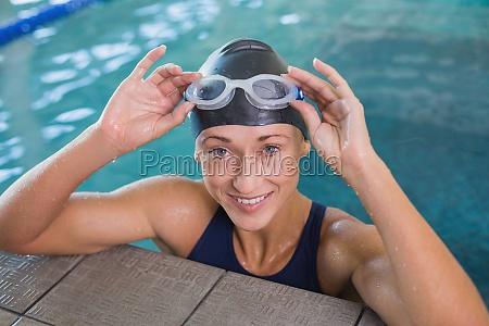 close up portrait of female swimmer