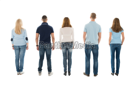 rear view of people standing in