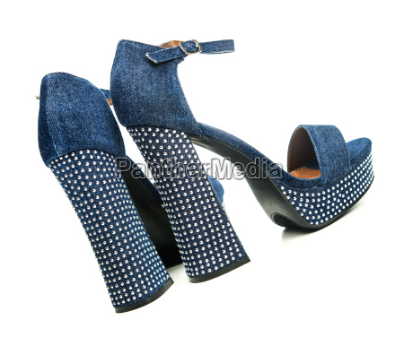 high heels shoes in denim colored