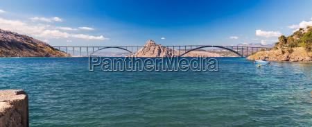 panoramablick auf die krkbruecke kroatien