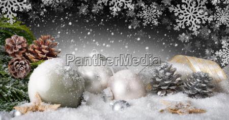 elegant christmas decoration with snow