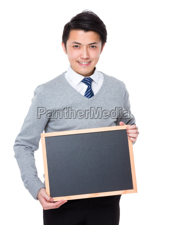 asian businessman show with chalkboard