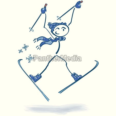 stick figure as a skier