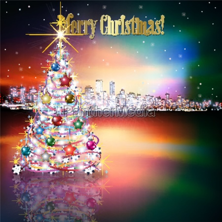 abstract christmas greeting with silhouette of