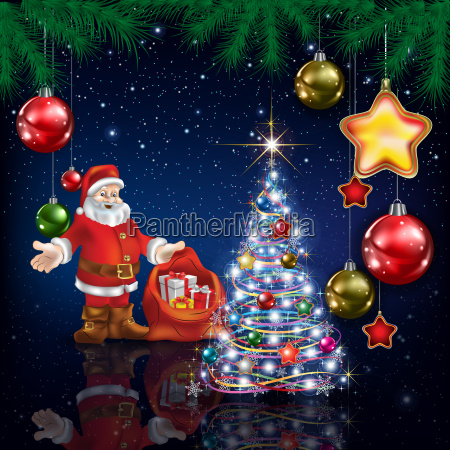 celebration greeting with christmas tree and