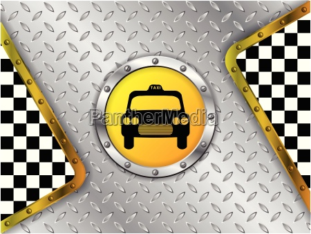taxi company advertising with metallic badge