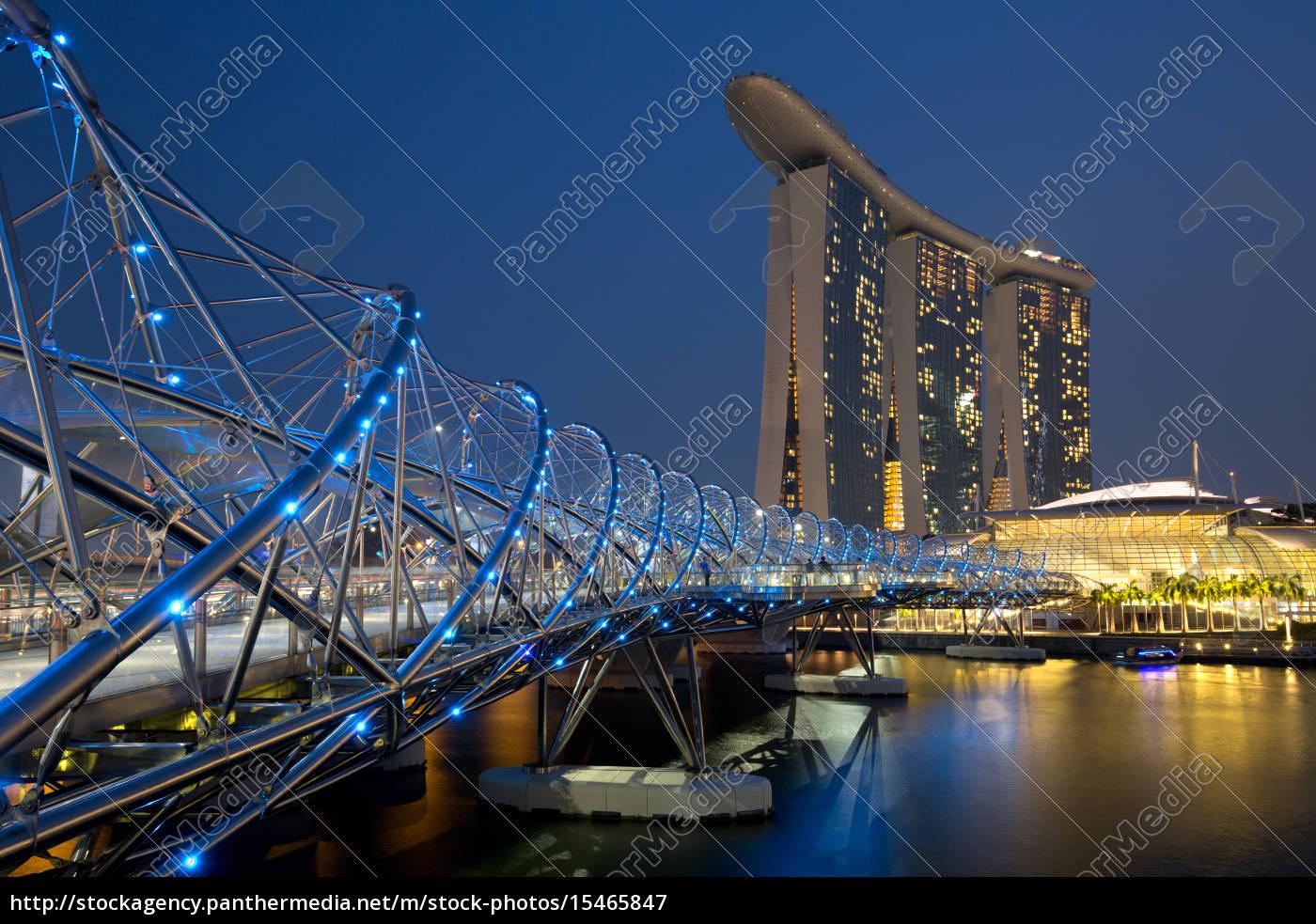 singapur, singapore, marina, bay, helix, bridge - 15465847