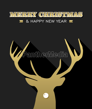 merry christmas new year reindeer silhouette