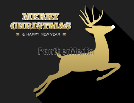 merry christmas new year gold deer