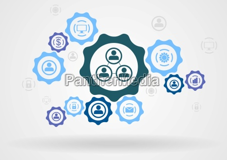 abstract background with gears and icons