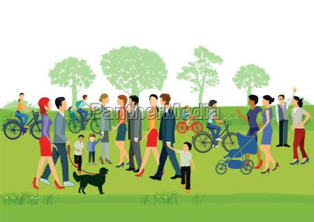 froehliche menschen im park