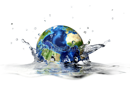 planet earth falling into clear water