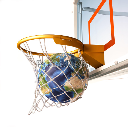 planet earth falling into the basketball