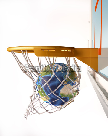 earth globe centering the basket close