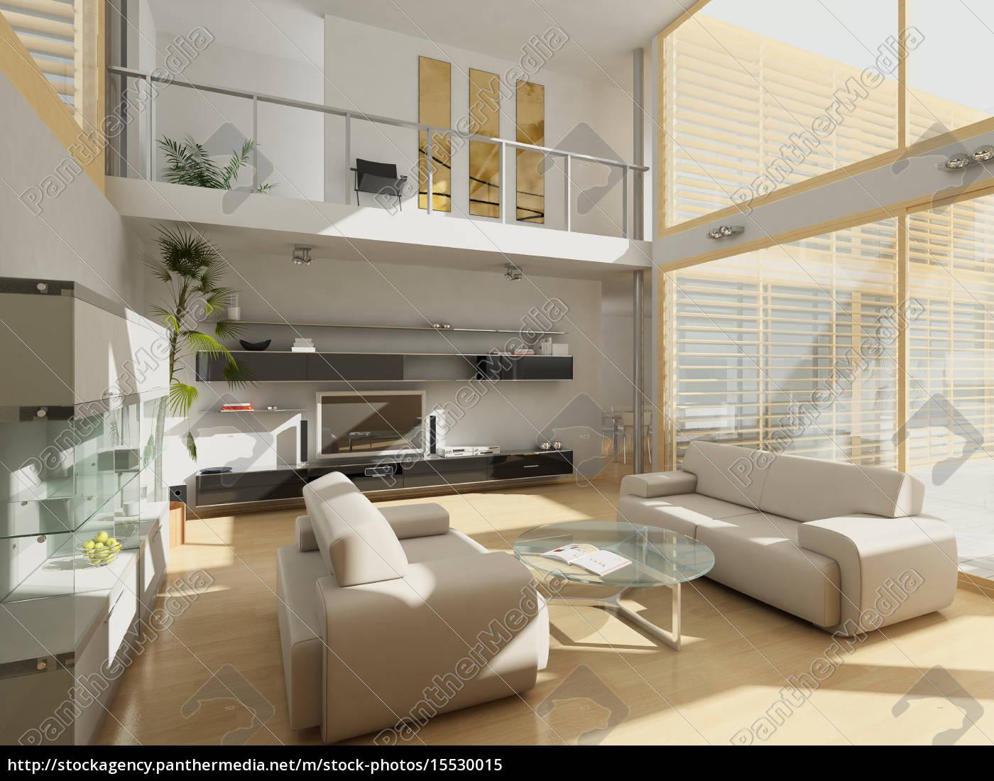 Lizenzfreies Bild 15530015 - modernes wohnzimmer mit großen fenstern