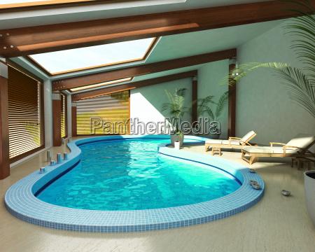 indoor spa pool mit stuehlen und