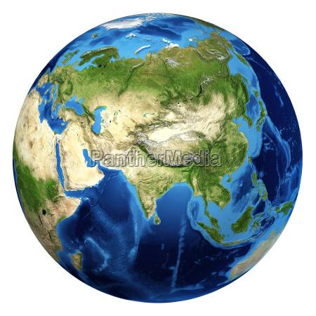 earth globus realistische 3d rendering asien