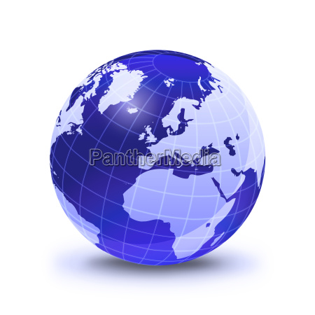 earth globe stylized in blue color