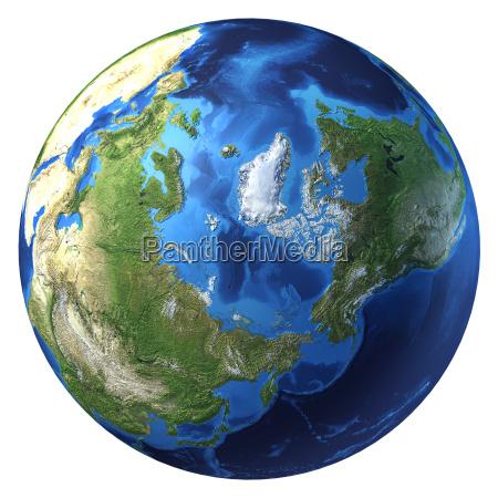 earth globus realistische 3d rendering arktis